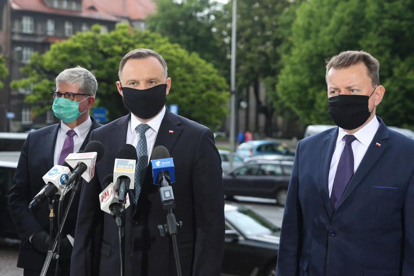 Andrzej Duda, Mariusz Błaszczak i Paweł Soloch / Andrzej Grygiel    /PAP