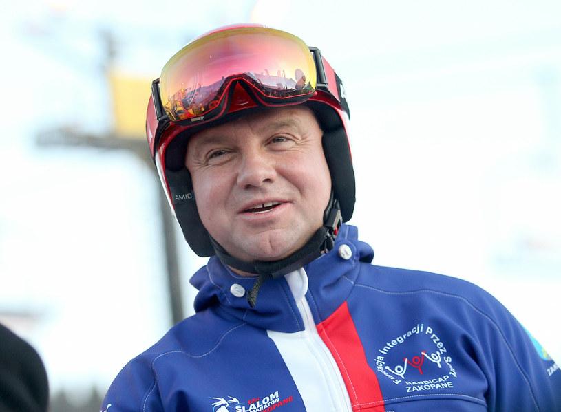 Andrzej Duda na nartach, zdjęcie wykonane w styczniu 2020 roku /Damian Klamka /East News