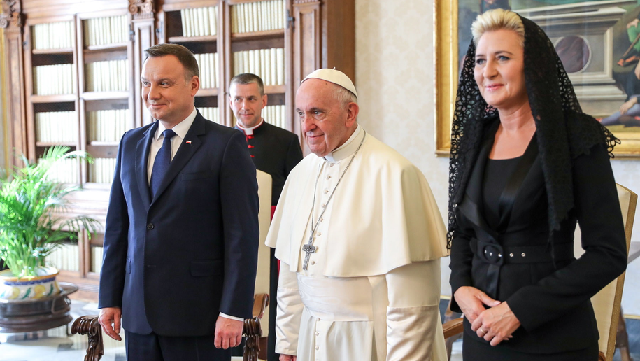 Andrzej Duda, papież Franciszek, Agata Kornhauser-Duda /Jakub Szymczuk /PAP