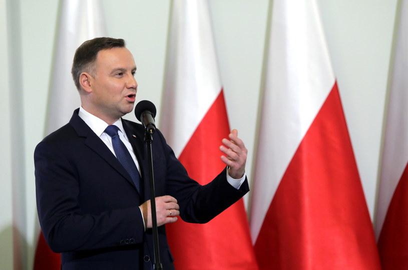 Andrzej Duda podczas konferencji o konstytucji w Pałacu Prezydenckim /Tomasz Gzell /PAP
