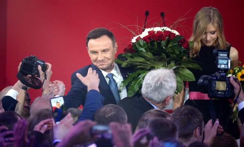 Andrzej Duda podczas wieczoru wyborczego 24 maja /Bartłomiej Zborowski /PAP