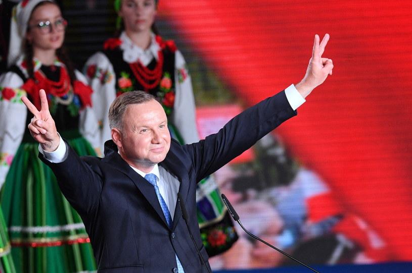 Andrzej Duda podczas wieczoru wyborczego / Radek Pietruszka   /PAP
