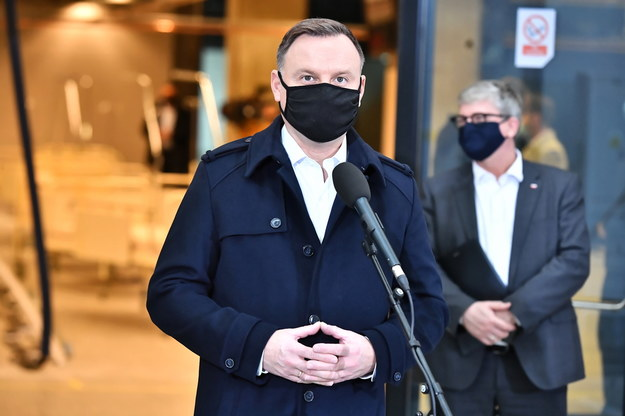 Andrzej Duda podczas wizyty na stadionie PGE Narodowy w Warszawie /Andrzej Lange /PAP/EPA