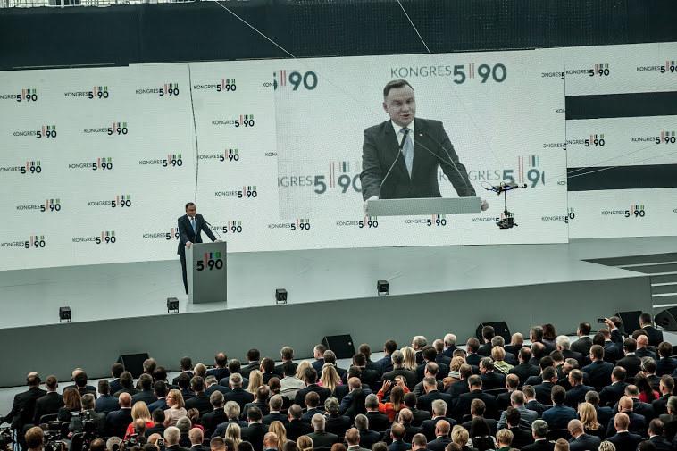 Andrzej Duda, prezydent RP podczas otwarcia Kongresu 590 w Jasionce koło Rzeszowa /INTERIA.PL