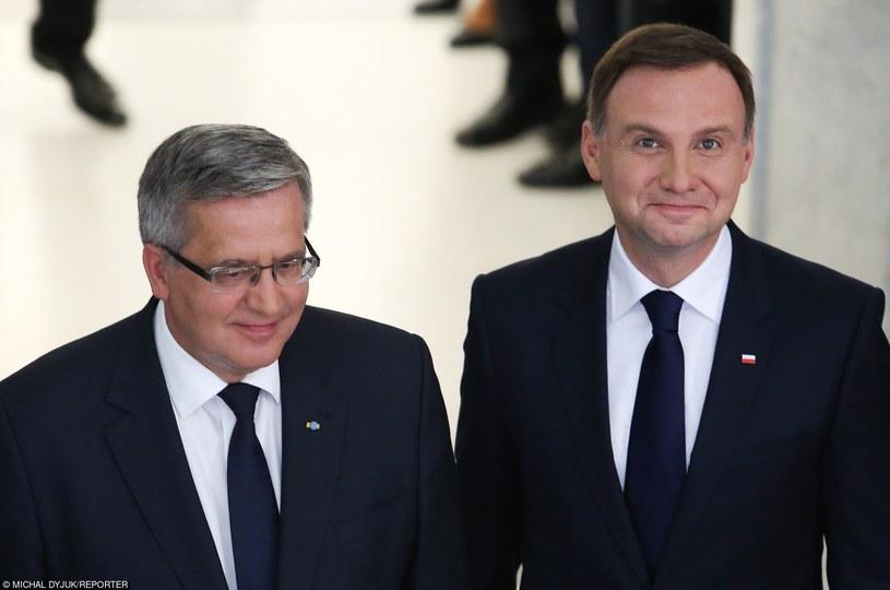 Andrzej Duda w towarzystwie Bronisława Komorowskiego /Michal Dyjuk/Reporter /East News