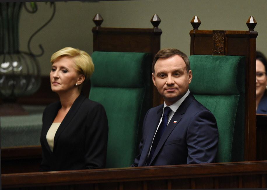 Andrzej Duda z małżonką Agatą Kornhauser-Dudą /Radek Pietruszka /PAP
