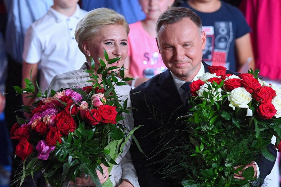 Andrzej Duda z małżonką Agatą Kornhauser-Dudą / Radek Pietruszka   /PAP