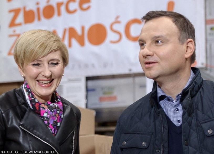 Andrzej Duda z małżonką w Banku Żywności SOS /Rafal Oleksiewicz /Reporter