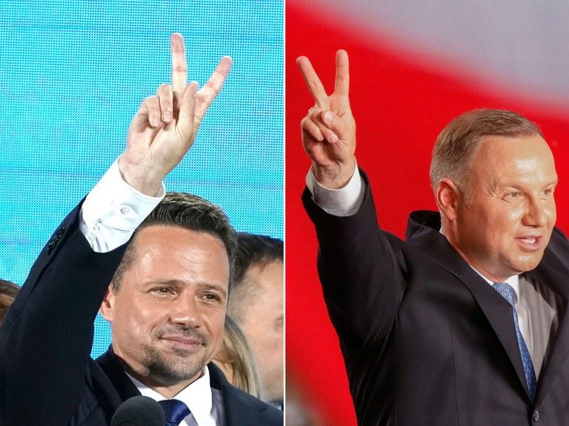 Andrzej Duda (z prawej) i Rafał Trzaskowski /AFP