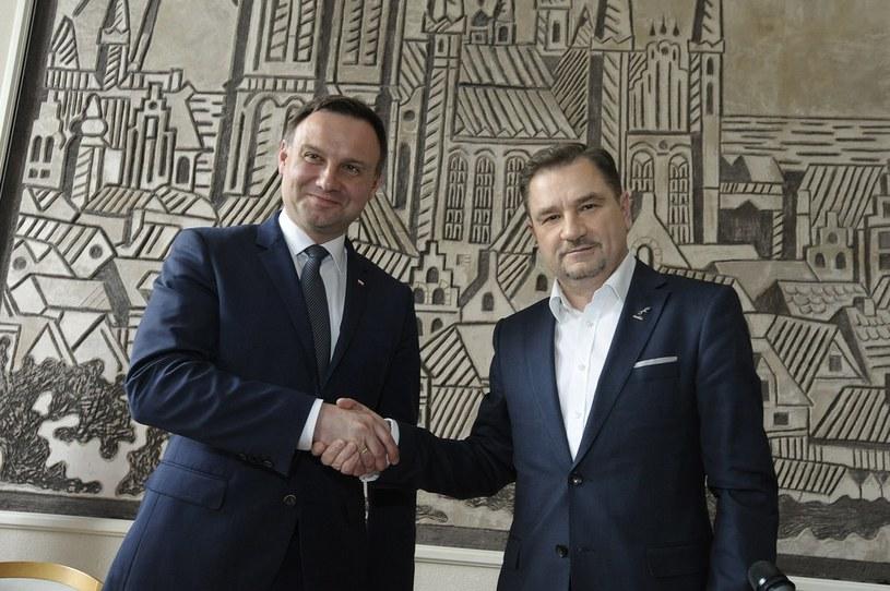 """Andrzej Duda z szefem """"Solidarności"""" Piotrem Dudą /Wojciech Stróżyk /Reporter"""