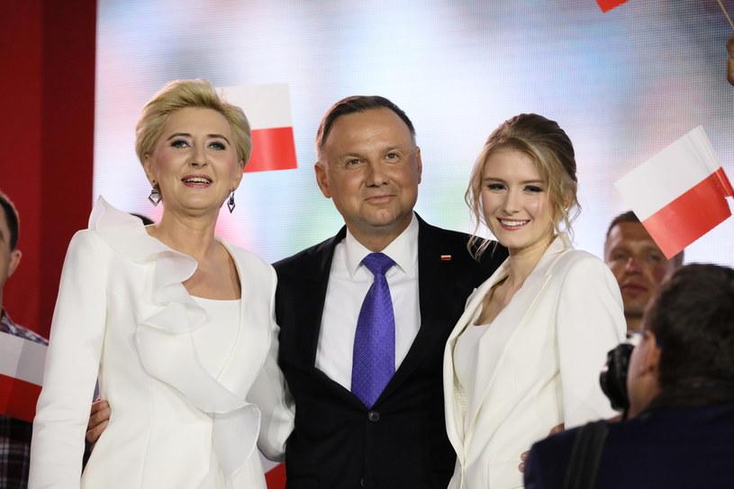 Andrzej Duda z żoną i córką. /Leszek Szymański /PAP