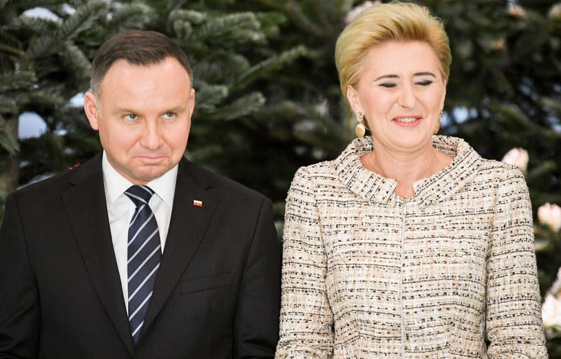 Andrzej Duda z żoną /Jacek Dominski/ /Reporter