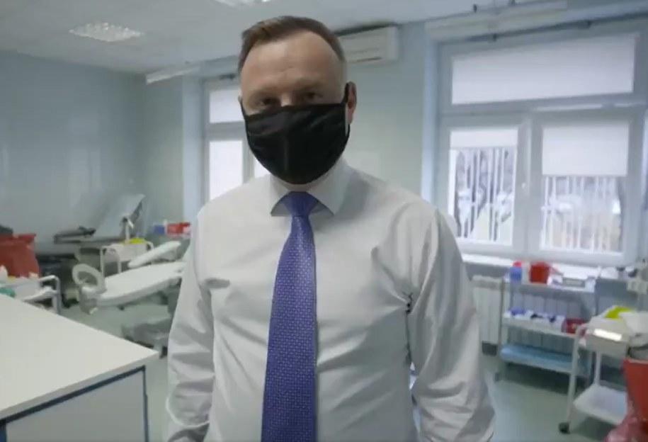 Andrzej Duda zachęca do oddania osocza / zrzut ekranu nagrania /RMF24