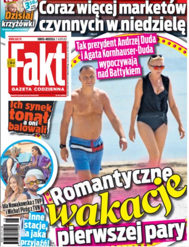 "Andrzej i Agata Duda na okładce ""Faktu"" z dnia 17.07.2021 /""Fakt"" /Fakt"