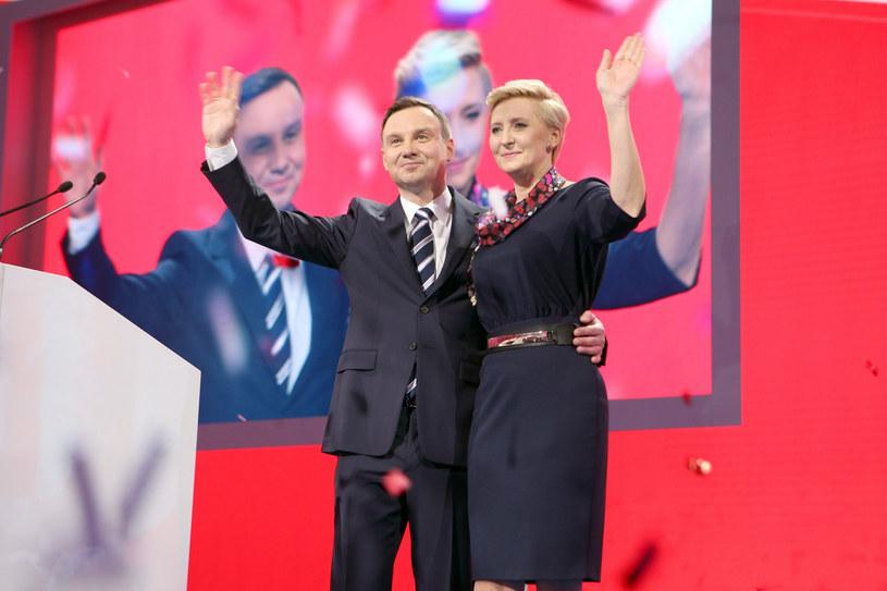 Andrzej i Agata Dudowie na konwencji PiS w 2015 roku /TOMASZ RADZIK / SE /East News