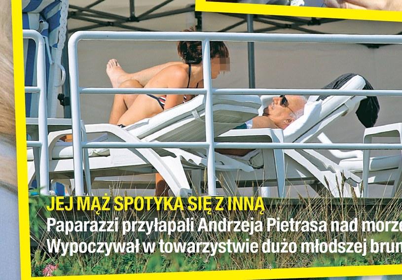 Andrzej Pietras z piękną brunetką przy basenie /Na żywo