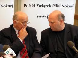 Andrzej Strejlau, szef Kolegium Sędziów (z lewej) i Grzegorz Lato, członek prezydium PZPN /INTERIA.PL