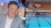 """Andrzej Supron skacze do basenu w """"Celebrity Splash"""""""