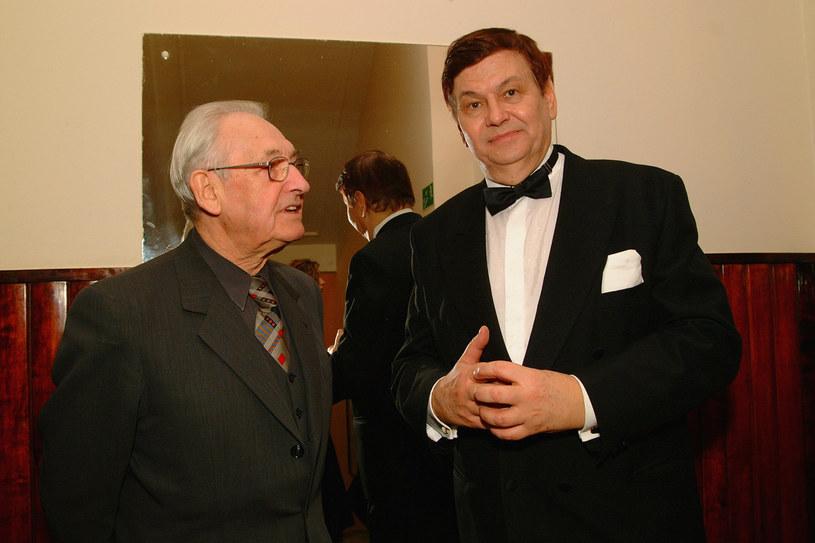 Andrzej Wajda i Bogusław Kaczyński w 2002 roku /AKPA