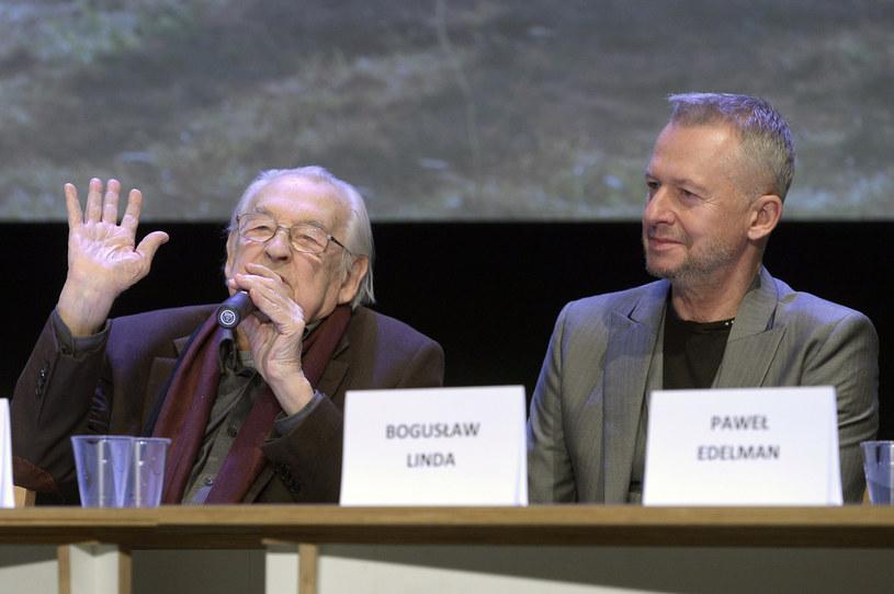 """Andrzej Wajda i Bogusław Linda na konferencji prasowej filmu """"Powidoki"""" /AKPA"""