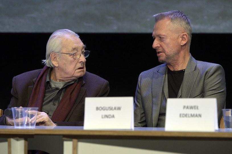 Andrzej Wajda i Bogusław Linda /Gałązka /AKPA