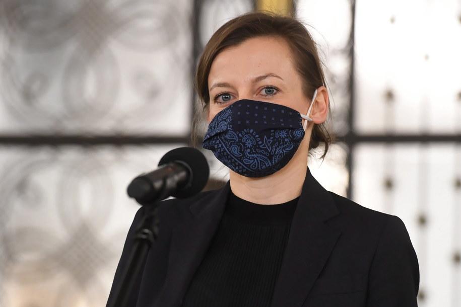 andydatka na Rzecznika Praw Obywatelskich Zuzanna Rudzińska-Bluszcz podczas konferencji prasowej w Sejmie /Piotr Nowak /PAP