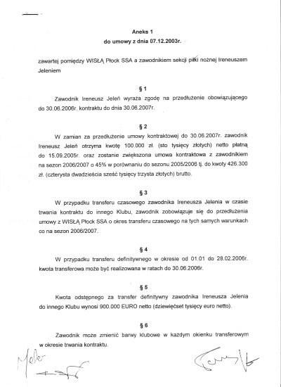 Aneks 1 umowy pomiędzy Wisłą Płock a Ireneuszem Jeleniem /Informacja prasowa