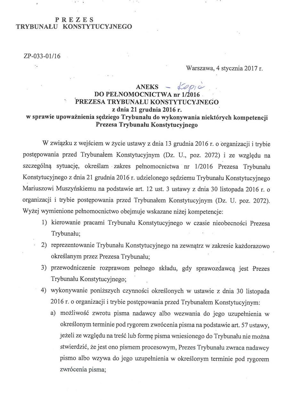 Aneks do pełnomocnictwa z 21 grudnia (strona 1) /Zrzut ekranu