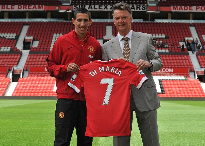 Angel Di Maria w towarzystwie menedżera Manchesteru United Louisa van Gaala /AFP