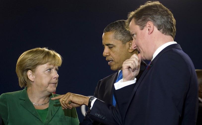 Angela Merkel, Barack Obama i David Cameron /AFP