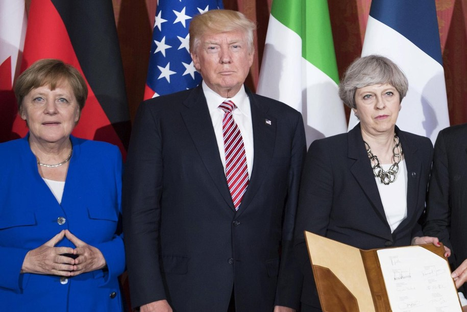 Angela Merkel, Donald Trump i Theresa May /TIBERIO BARCHIELLI / CHIGI PALACE PRESS OFFICE HANDOUT /PAP/EPA