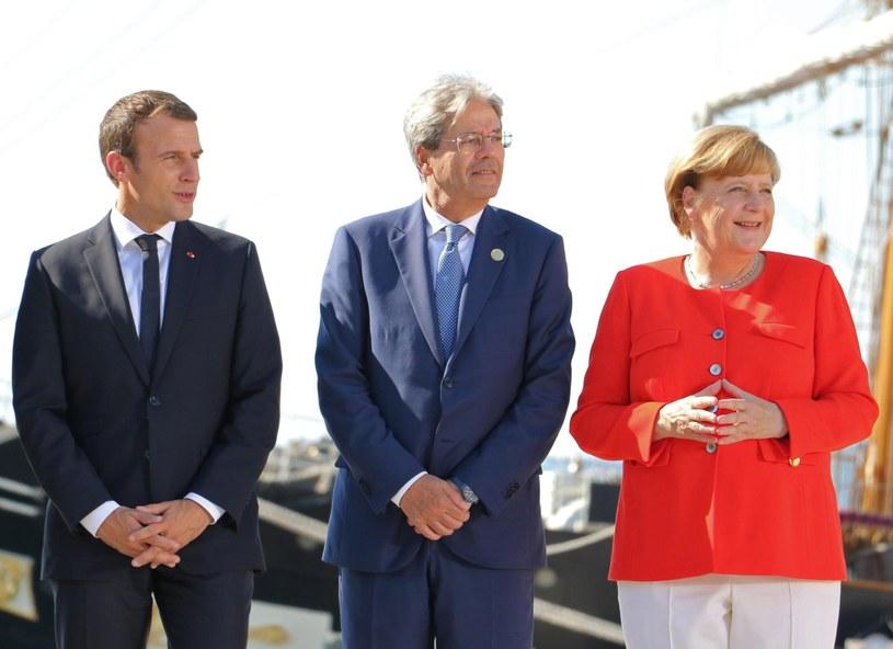 Angela Merkel, Emmanuel i Paolo Gentiloni na spotkaniu w Trieście /ANDRE LA SORTE /PAP/EPA