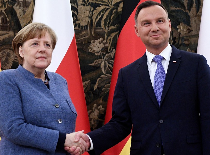 Angela Merkel i Andrzej Duda /Jacek Turczyk /PAP