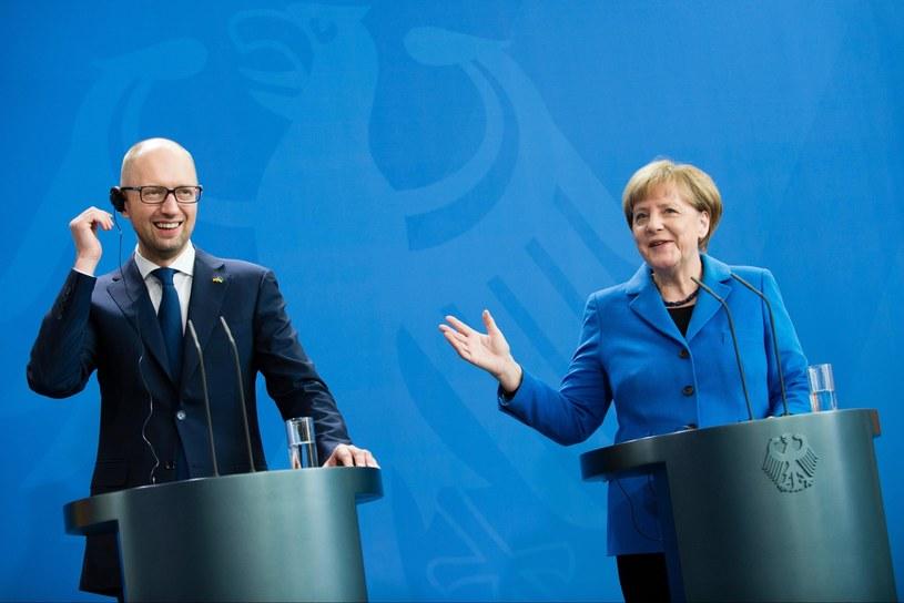 Angela Merkel i Arsenij Jaceniuk /PAP/EPA
