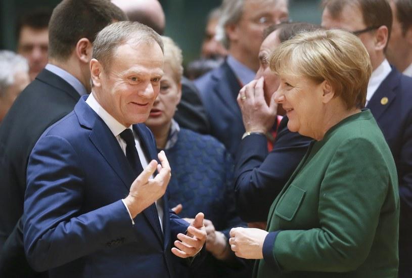 Angela Merkel i Donald Tusk na szczycie UE w Brukseli /OLIVIER HOSLET /PAP/EPA