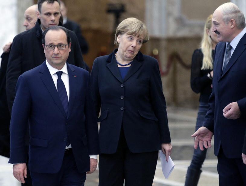 Angela Merkel i Francois Hollande /PAP/EPA