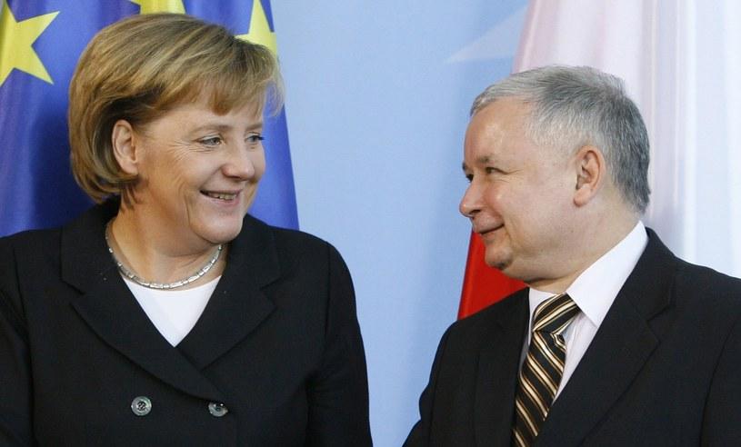 Angela Merkel i Jarosław Kaczyński /East News /AFP