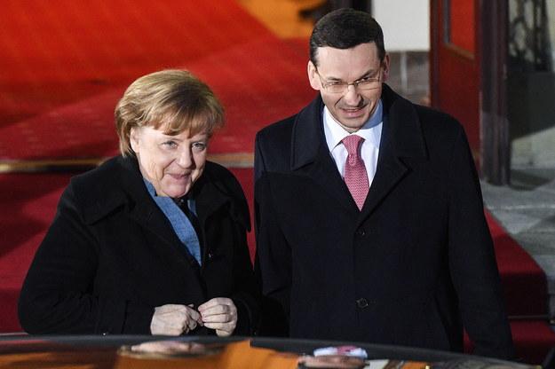 Angela Merkel i Mateusz Morawiecki /Radek Pietruszka /PAP