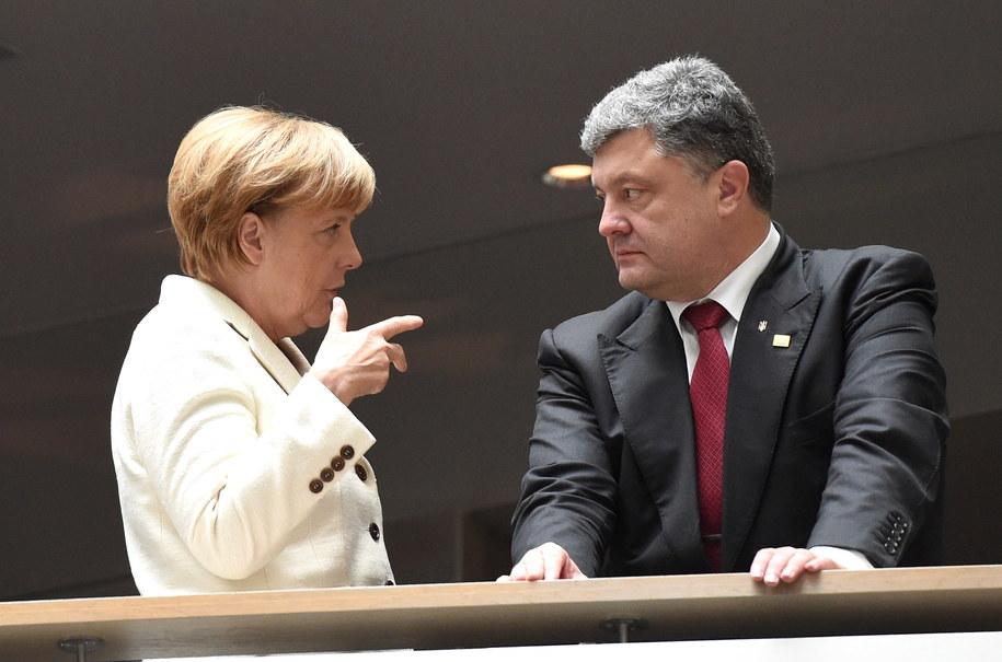 Angela Merkel i Petro Poroszenko /Radek Pietruszka /PAP/EPA