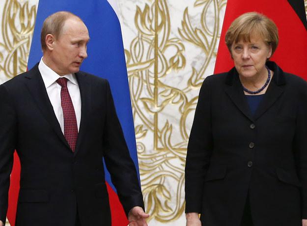 Angela Merkel i Władimir Putin podczas spotkania w Mińsku fot. Grigory Dukor /AFP
