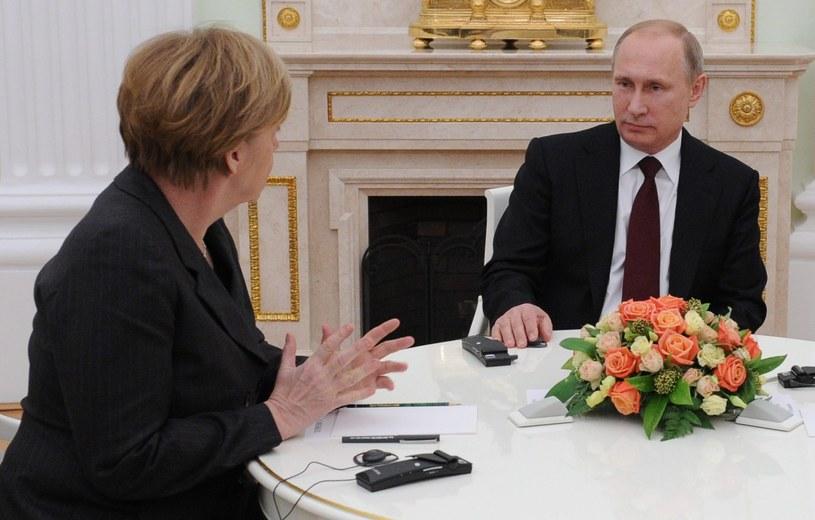 Angela Merkel i Władimir Putin podczas spotkania w Moskwie /PAP/EPA