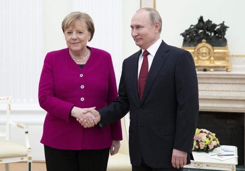 Angela Merkel i Władimir Putin w Moskwie /PAVEL GOLOVKIN /PAP/EPA
