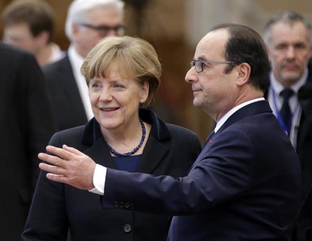 Angela Merkel (L) i Francois Hollande (P) dzisiaj w Mińsku /EPA
