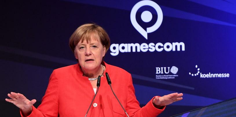 Angela Merkel na targach Gamescom /AFP