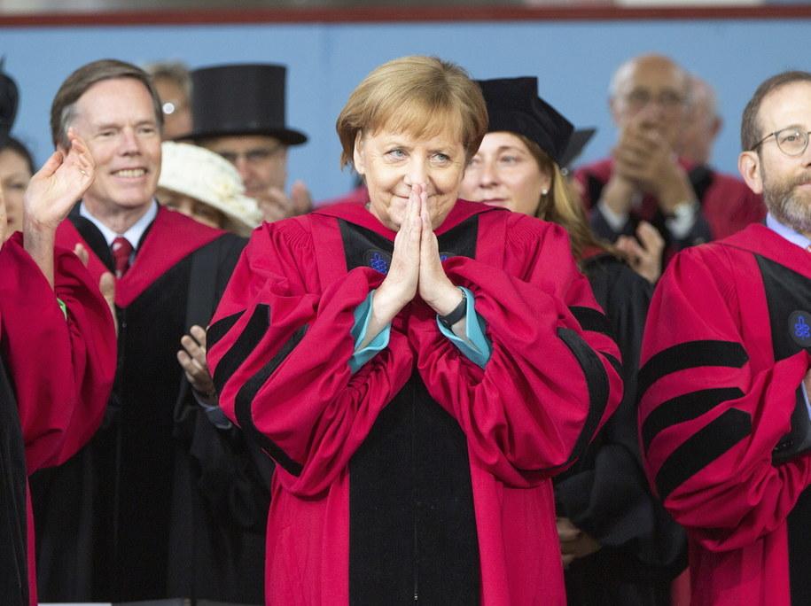 Angela Merkel odbiera tytuł doktora honoris causa uniwersytetu Cambridge /CJ GUNTHER /PAP/EPA