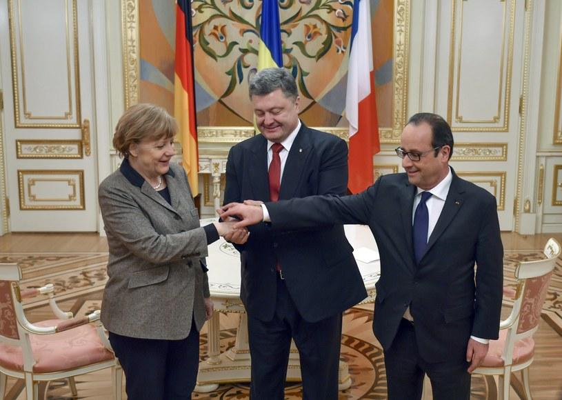 Angela Merkel, Petro Poroszenko i Francois Hollande /AFP