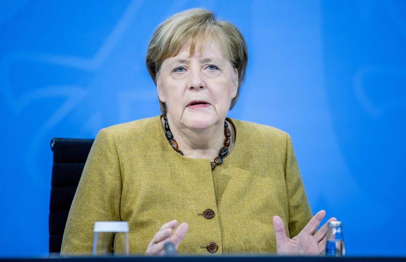 Angela Merkel po obradach rządów federalnego i krajów związkowych / Andreas Gora  /PAP/EPA