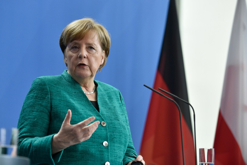Angela Merkel po spotkaniu z Mateuszem Morawieckim /PAP/EPA