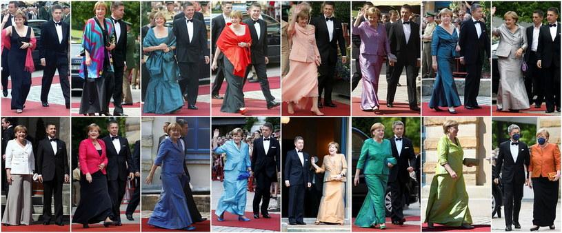 Angela Merkel w kreacjach wieczorowych stawiała na bazowy kolor i do niego dobierała dodatki