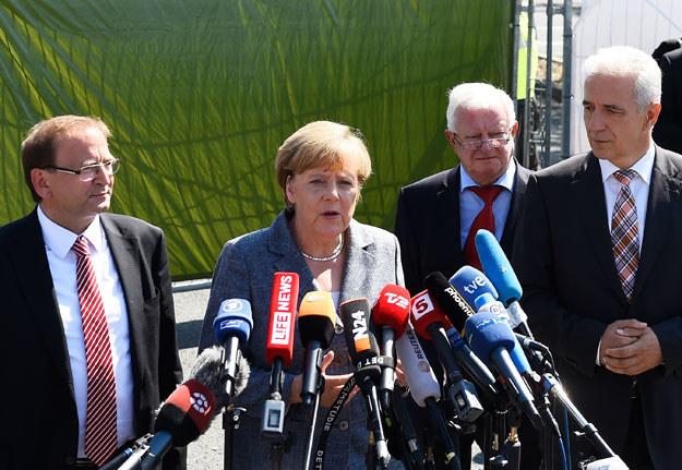 Angela Merkel została wygwizdana w Heidenau fot. Tobias Schwarz /AFP
